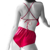 L1206 - Lingerie Babydoll Tali Silang Merah, Celana Panties Boyshort - Foto 2