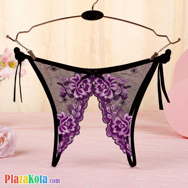 P567 - Panties Thong Hitam Transparan Bunga Ungu, Crotchless Ikat Samping - Photo 2
