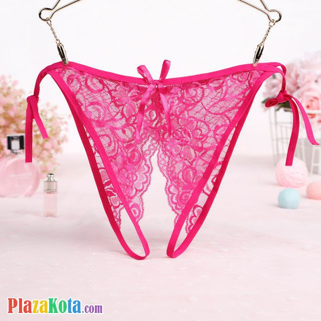 P579 - Panties Thong Magenta Transparan, Crotchless Ikat Samping - Photo 1