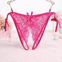 P579 - Panties Thong Magenta Transparan, Crotchless Ikat Samping - Thumbnail 1
