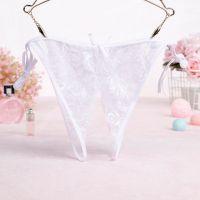 P580 - Panties Thong Putih Transparan, Crotchless Ikat Samping