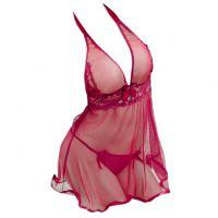 L0357 - Lingerie Robe Halterneck Marun Transparan, Lengan Panjang, Baju Dalam - Thumbnail 2