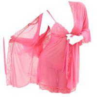 L0374 - Lingerie Robe Magenta Transparan, Lengan Panjang, Baju Dalam - Thumbnail 2