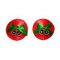 N114 - Nipple Cover Reusable Bulat Merah, Pita Hijau, Kerincing Silver