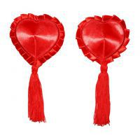 N126 - Nipple Cover Reusable Love Merah, Tepi Merah, Rumbai Merah