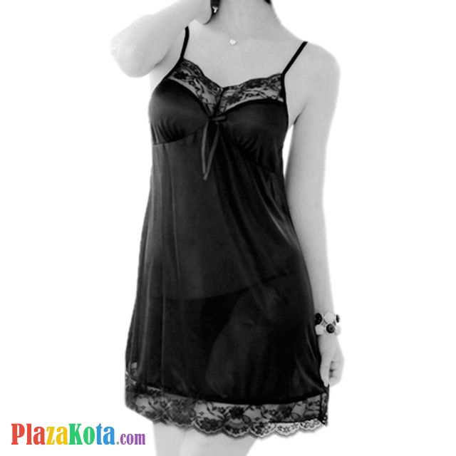 L0418 - Lingerie Nightgown Hitam - Photo 1